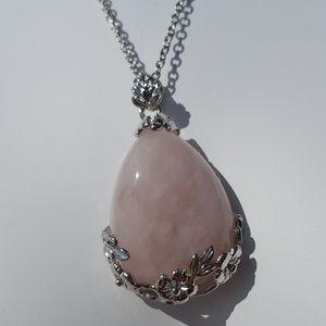 Rose Quartz | Stone Pendant + Chain Necklace NEW